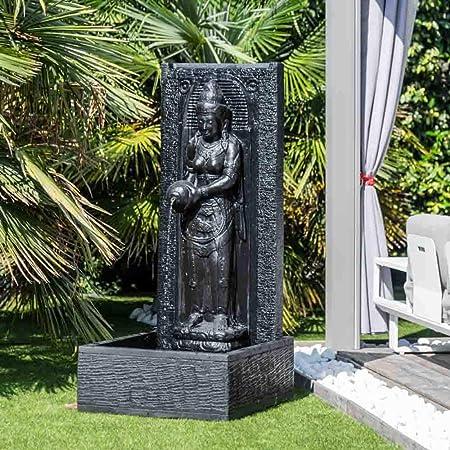 wanda collection Fuente de jardín Pared de Agua Diosa Dewi Sri 1,50 m Negro: Amazon.es: Hogar