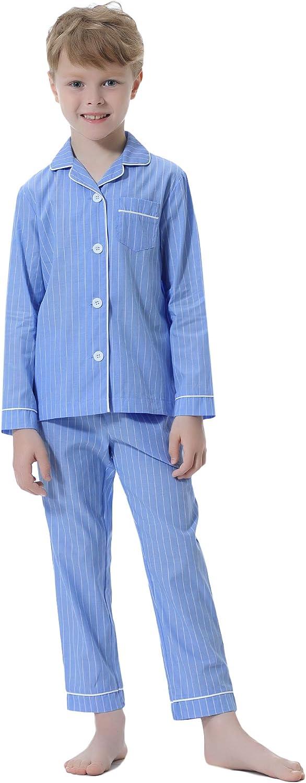 Hawiton Pigiama Ragazzi Cotone 7-14 Anni Maniche Lunghe Maglietta con Chiusura a Bottoni e Pantaloni Lunghi Set Pigiami in 2 Pezzi