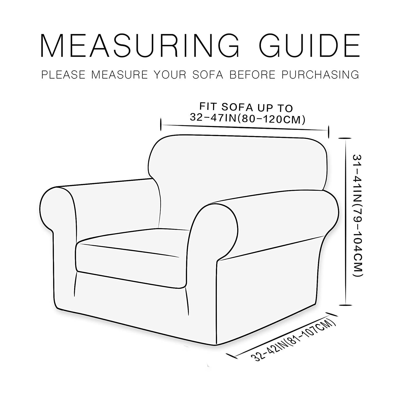 Sofa, Blue CHUN YI 2-Piece Knit Polyester Spandex Fabric Sofa Slipcover Stretch Sofa Couch Cover Furniture Protector for 3 Seats Sofa with Separate Seat Cushion Cover