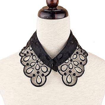 Mujeres estilo Vintage flores hueco patrón falso medio cuello de blusa camiseta camisa desmontable con bordado artesanal Blanco