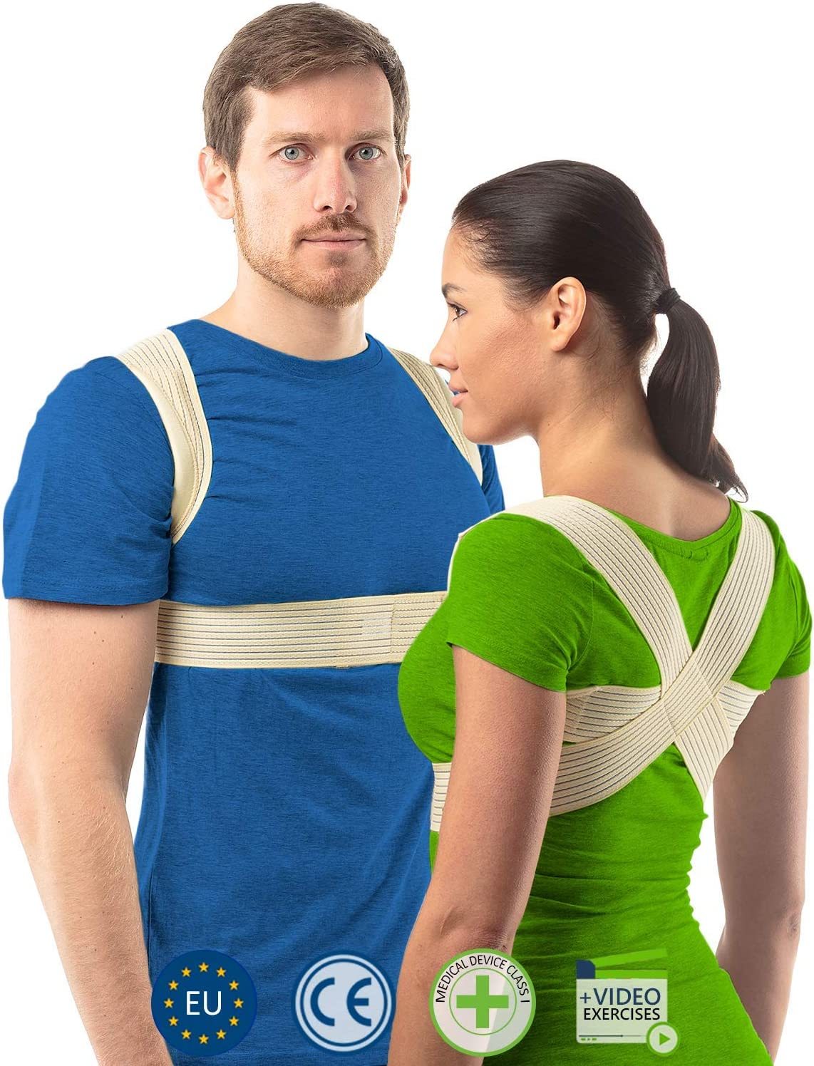 aHeal Corrector de Postura para Hombre y Mujer | Soporte para Corregir la Postura | Corsé Ortopédico para Escoliosis Cifosis | Alivio del Dolor de Espalda y Corrector de Mala Postura | Talla 4 Piel