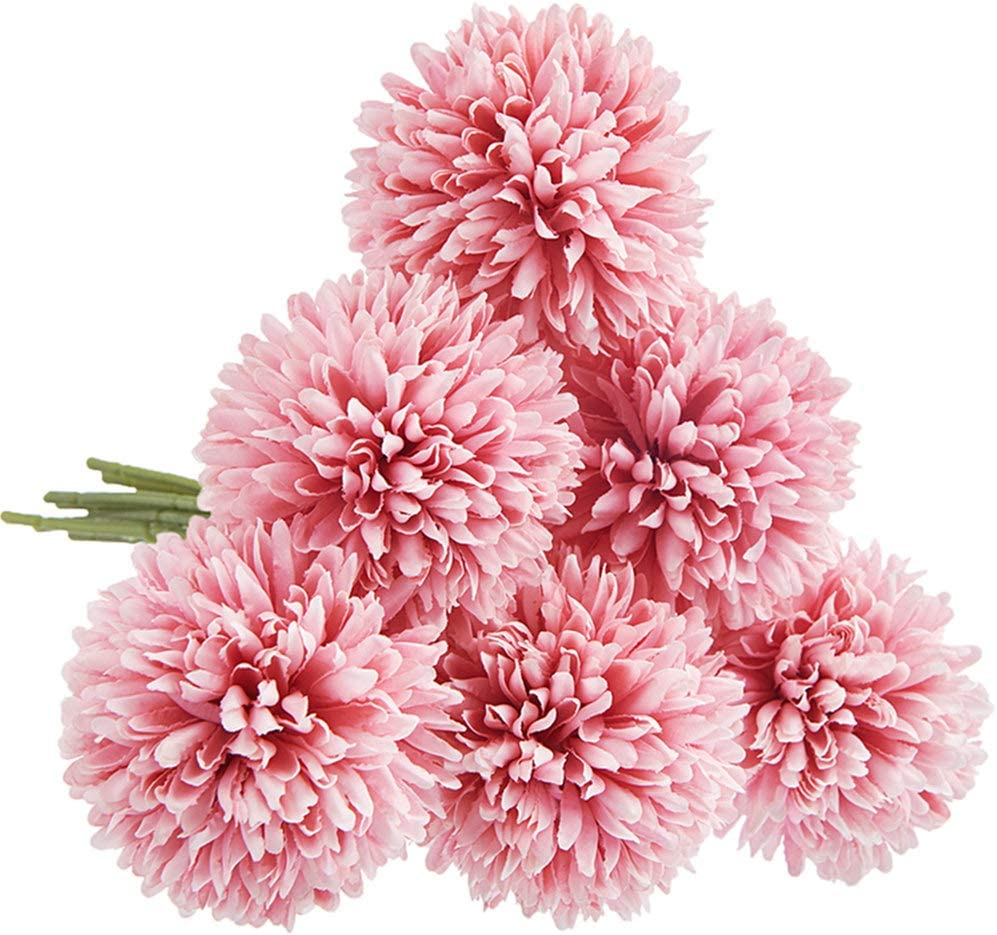 CQURE Artificial Flowers, Fake Flowers Silk Plastic Artificial Hydrangea 6 Heads Bridal Wedding Bouquet for Home Garden Party Wedding Decoration 6Pcs (Deep Pink)