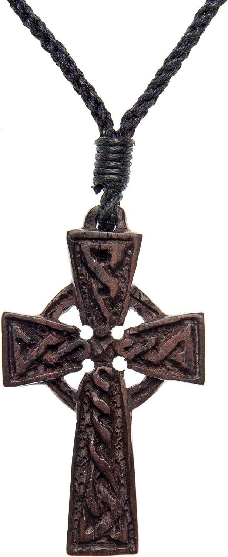 81stgeneration Collier avec Pendentif Bois Brun Sculpt/é Irlandais Celtique Croix