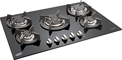 Glen GL 1075 TR 5 Kitchen Built in Hob Auto Ignition Gas Stove with Glass Burner (Black)
