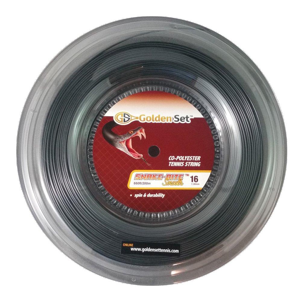 Golden Set Snake-Bite Smooth 16g (1.30mm), Reel (660ft/200m), Polyester Tennis String (Black)