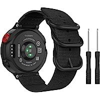 MoKo Watch Band Compatible with Garmin Forerunner 235, Fine Woven Nylon Adjustable Replacement Strap fit Garmin Forerunner 235/235 Lite / 220/230 / 620/630 / 735XT - Black