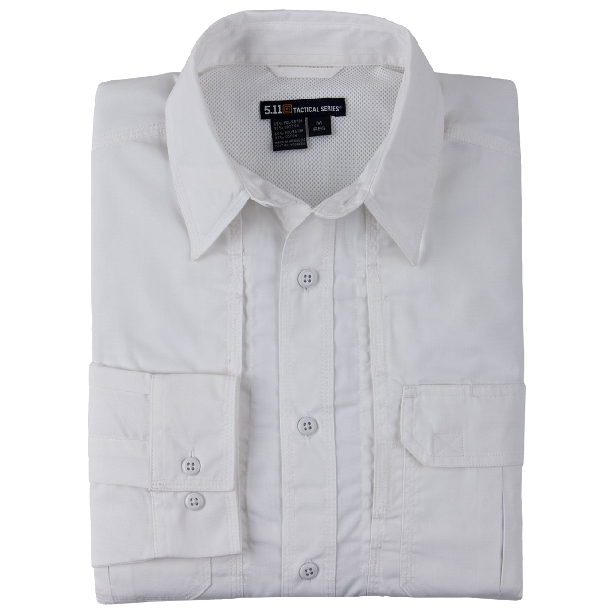 5.11 Tactical TacLite Professional Long Sleeve Shirt, White, Small