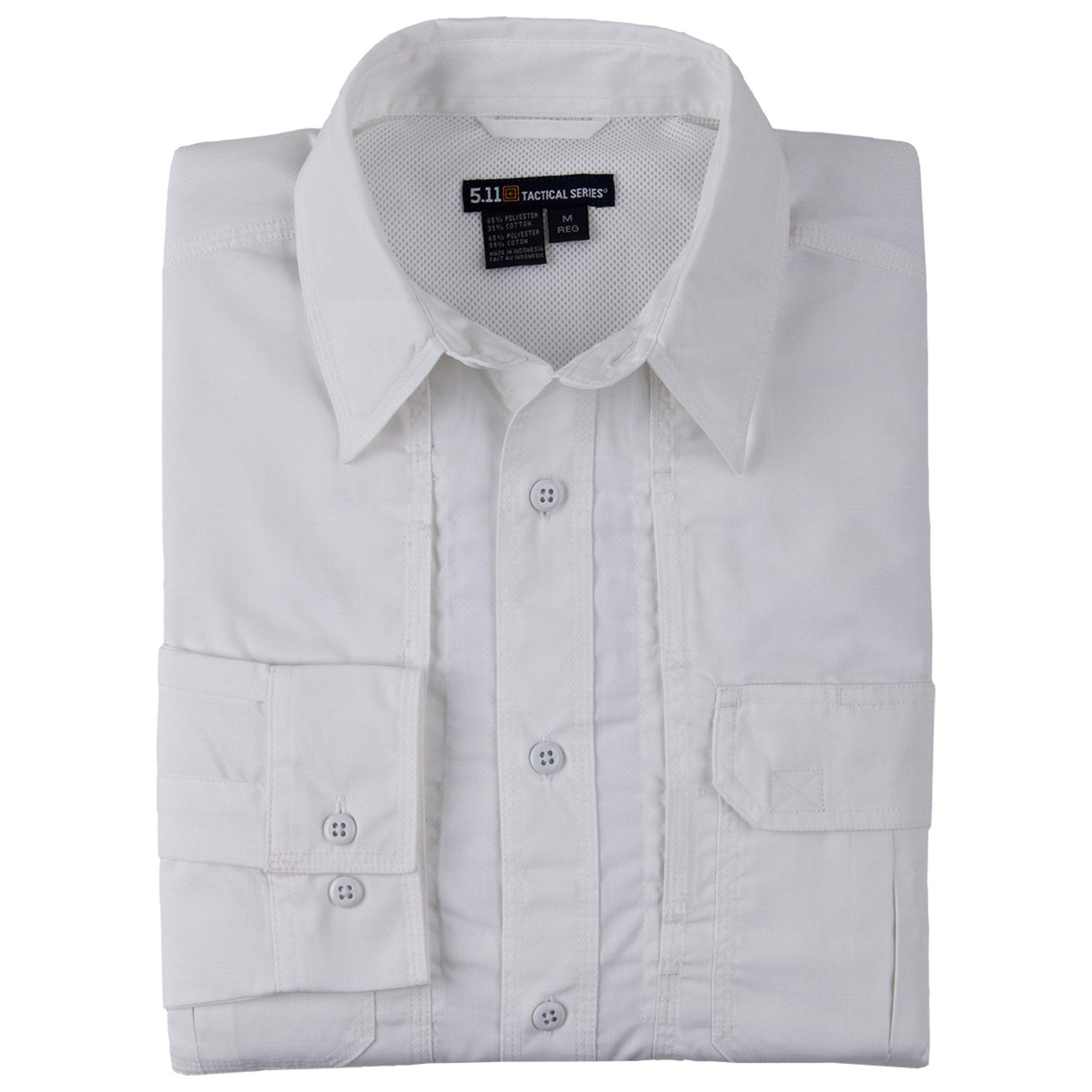 5.11 Tactical TacLite Professional Long Sleeve Shirt, White, Medium