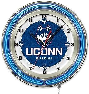 "Connecticut Uconn Huskies HBS Neon Blue College Battery Powered Wall Clock (19"")"