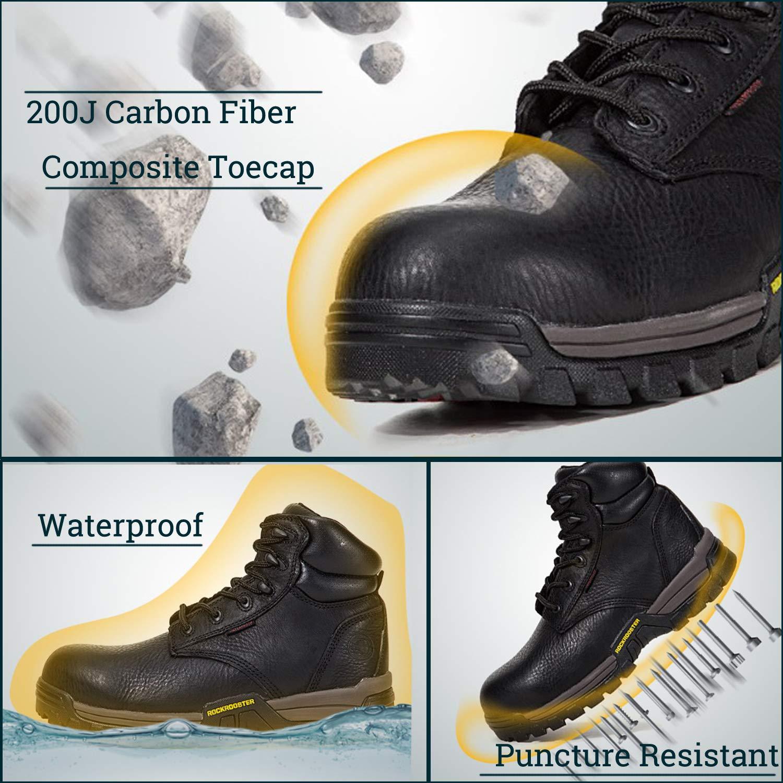 ROCKROOSTER Work Boots for Men Composite//Soft Toe Waterproof Safety Working Shoes DG-Rockrooster-2ND
