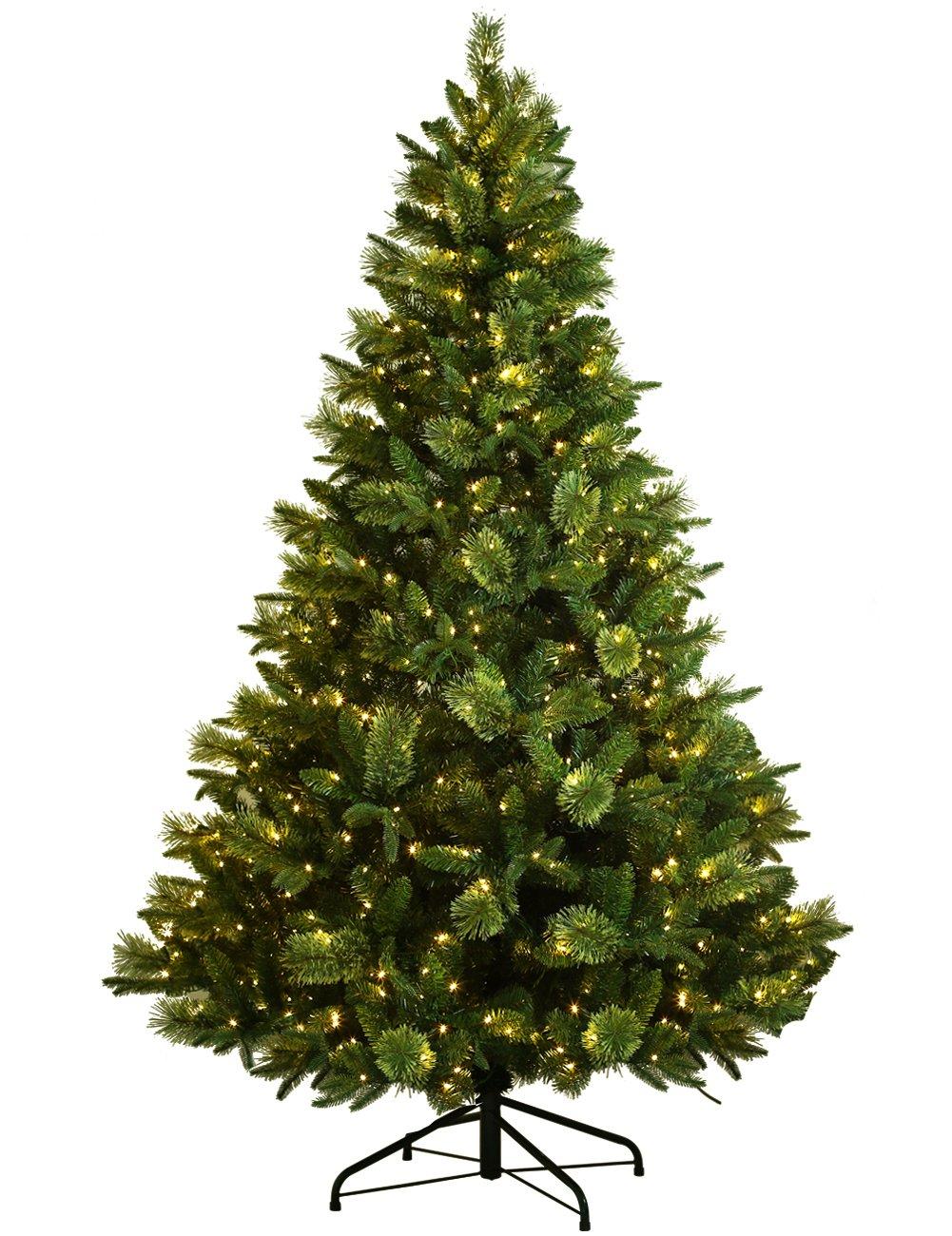 ABUSA Artificial Christmas Tree Prelit 7.5 ft XMAS Pine Tree with 750 LED Lights 1186 Branch Tips