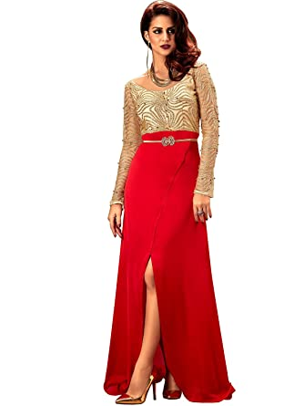 Khwaab Womens Red Sequins Slit Pattern Party Wear Indian Designer Stitched Gown, Bust: 38