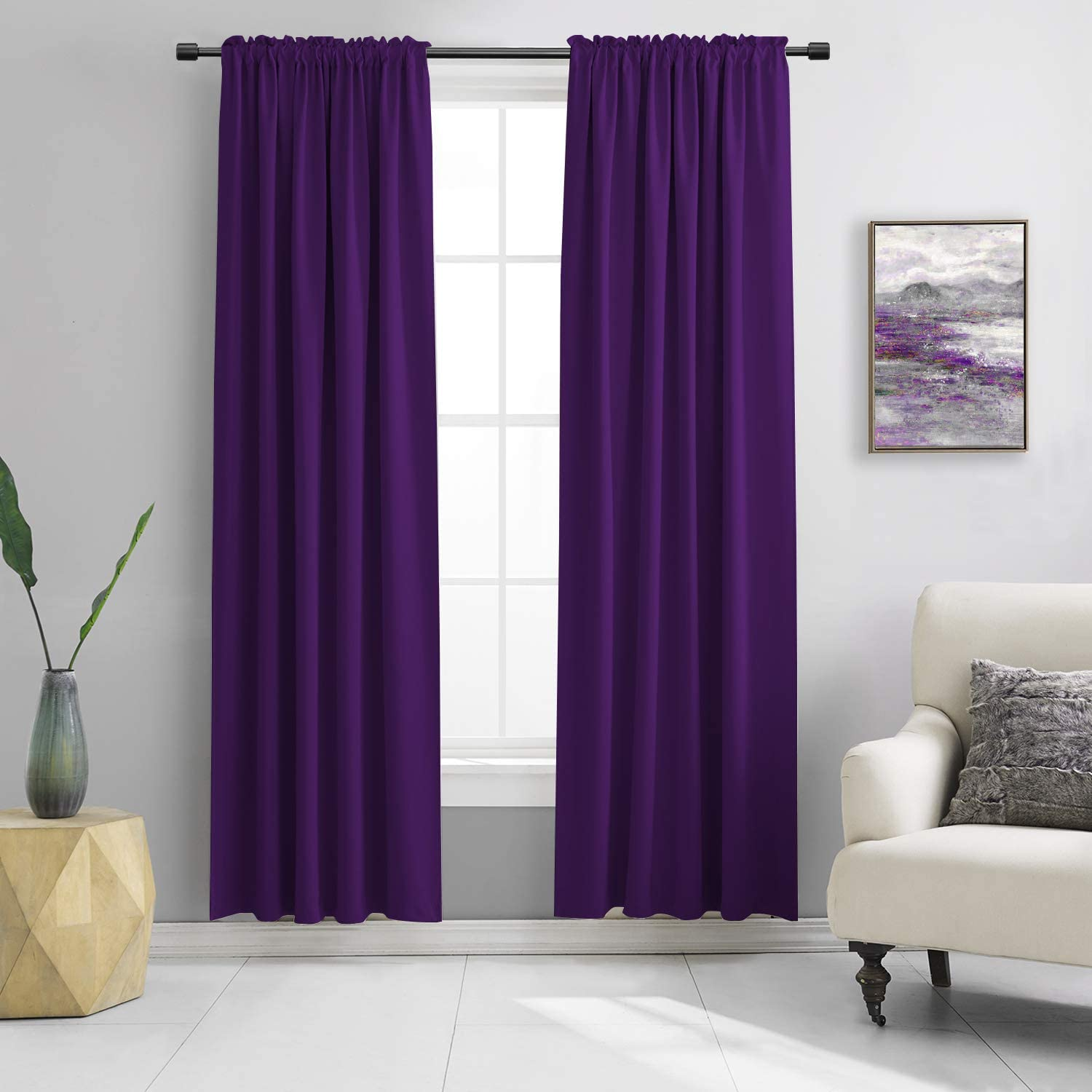 DONREN Room Darkening Window Curtain Panels for Bedroom - Rod Pocket Blackout Solid Curtains for Dining Room(Purple,52 W x 96 L 2 Panels)