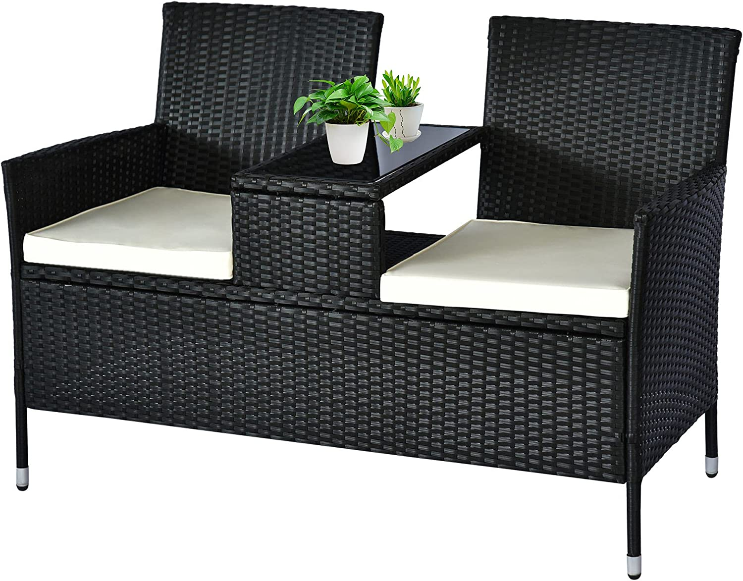 Outsunny Rattan Wicker Conversation Furniture Set with 2 Cushioned Seat & Built-in Coffee Table with Tempered Glass Top, Modern Loveseat for Garden Lawn Backyard Porch, Black