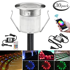 """LED Deck Lights Kit, 30pcs Φ1.18"""" WiFi Wireless Smart Phone Control Low Voltage Recessed RGB Deck Lamp In-ground Lighting Waterproof Outdoor Yard Path Stair Landscape Decor, Fit for Alexa,Google Home"""