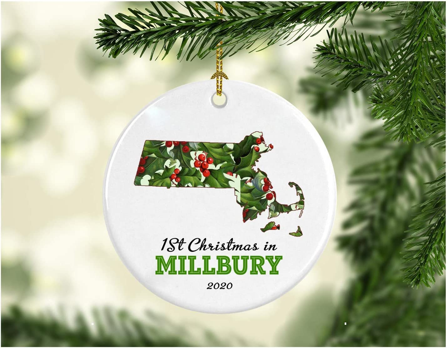 New Home Christmas Ornament 2020 Millbury Massachusetts First Christmas in Our New House Housewarming Holiday Gift Pretty Rustic Christmas in Our New Home MDF Plastic 3