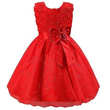 Katara Vestido de noche para Niña con flores y con arco, color Rojo, talla