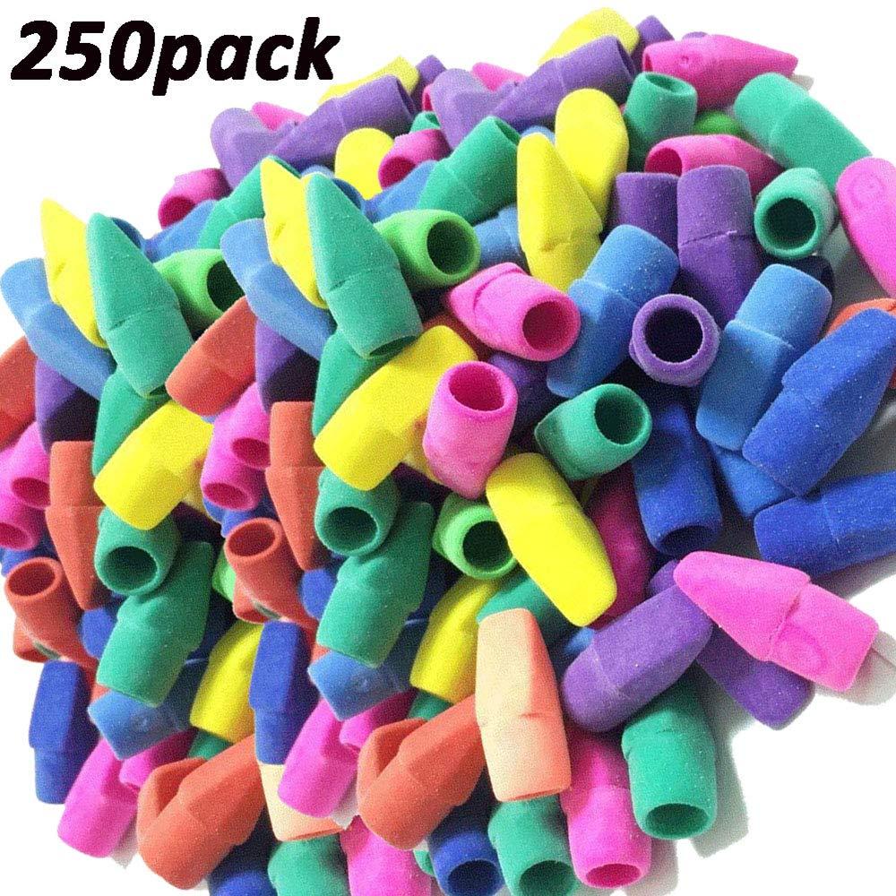 Pencil Top Eraser Caps Arrowhead Assorted Colors in Bulk Pack of 250
