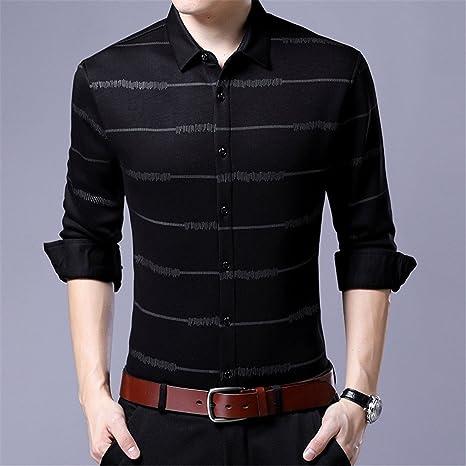 Hombres camiseta de felpa _ imprimir camisa a rayas/solapa/caliente engrosada camisa de hombre/caliente, camiseta gris, L: Amazon.es: Deportes y aire libre