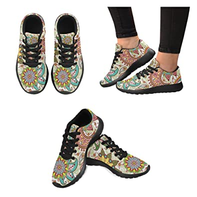 InterestPrint Graphic Paisley Flowers Print on Women s Running Shoes Casual  Lightweight Athletic Sneakers US Size 6 feea488acd