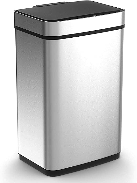 Amazon Com Caynel 50 Liter 13 Gallon Sensor Trash Can Stainless Steel Touch Free Rectangular Kitchen Bin Automatic Touchless Infrared Motion High Capacity Garbage Can Silver Home Kitchen