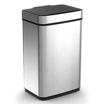 Amazon.com: CAYNEL - Papelera con sensor de 50 litros, acero ...