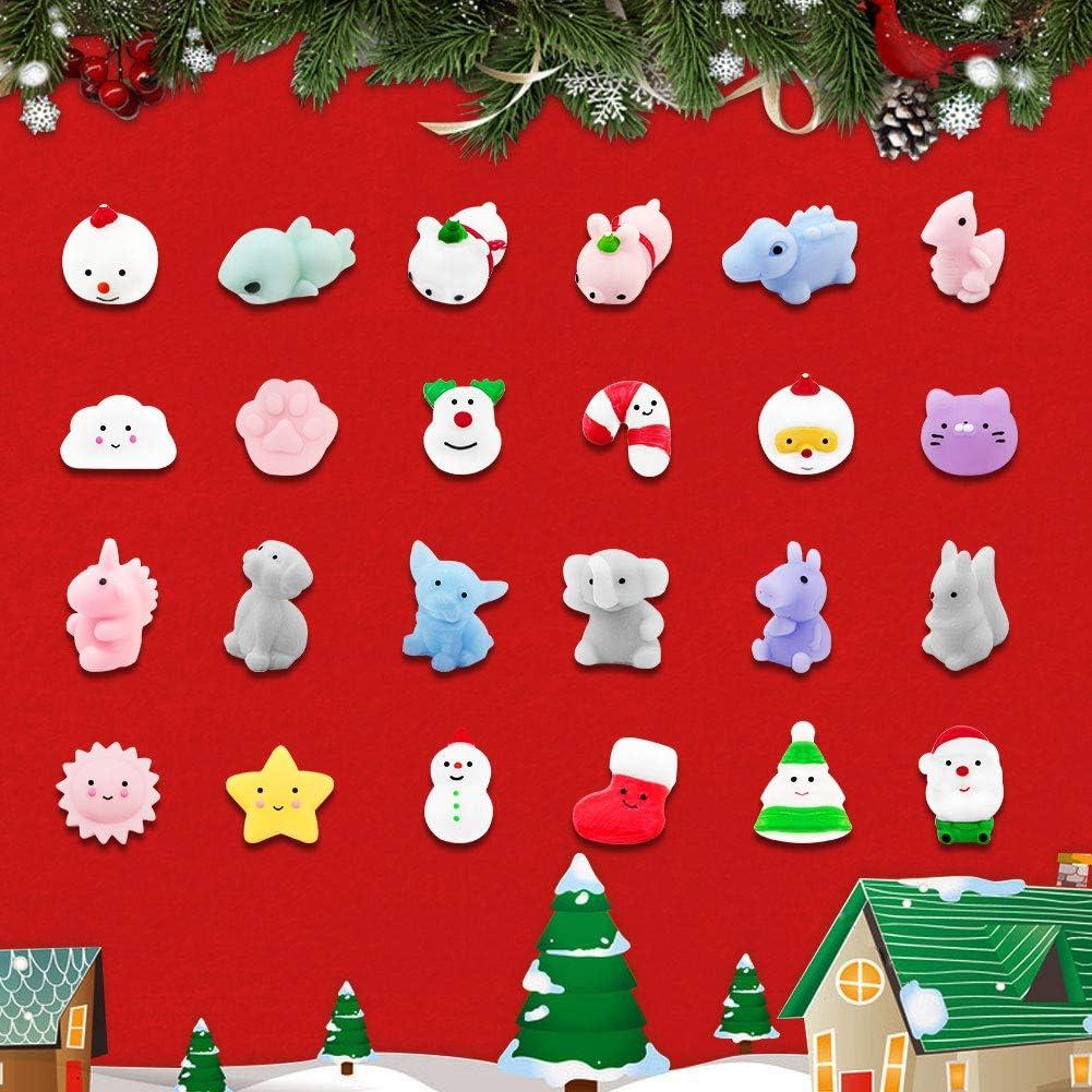 Calendario dellavvento Conto alla rovescia di Natale 2020 Amelia Calendario dellAvvento di Natale Mini Giocattolo in Silicone Morbido Animale Giocattolo Antistress 24PCS