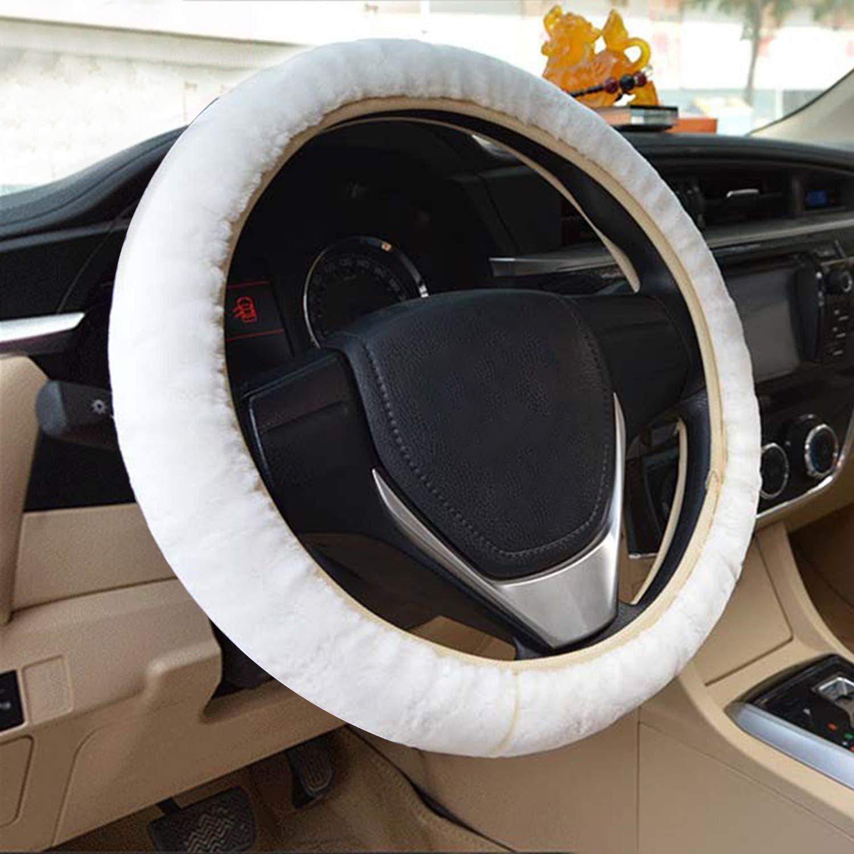 Aontean Housse de volant universelle en peluche pour voiture//camion//SUV//camionnette
