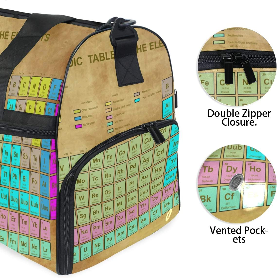 TFONE Chemistry Element Periodic Table Duffel Bag Sports Gym Weekend Bags with Shoe Compartmen