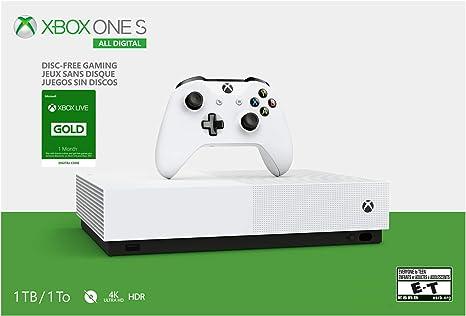 Microsoft Xbox One S - Consola de 1 TB con Mando inalámbrico Xbox One y suscripción a Xbox Live Gold de 1 Mes (códigos de Juego no incluidos), Color Blanco: Amazon.es: Electrónica