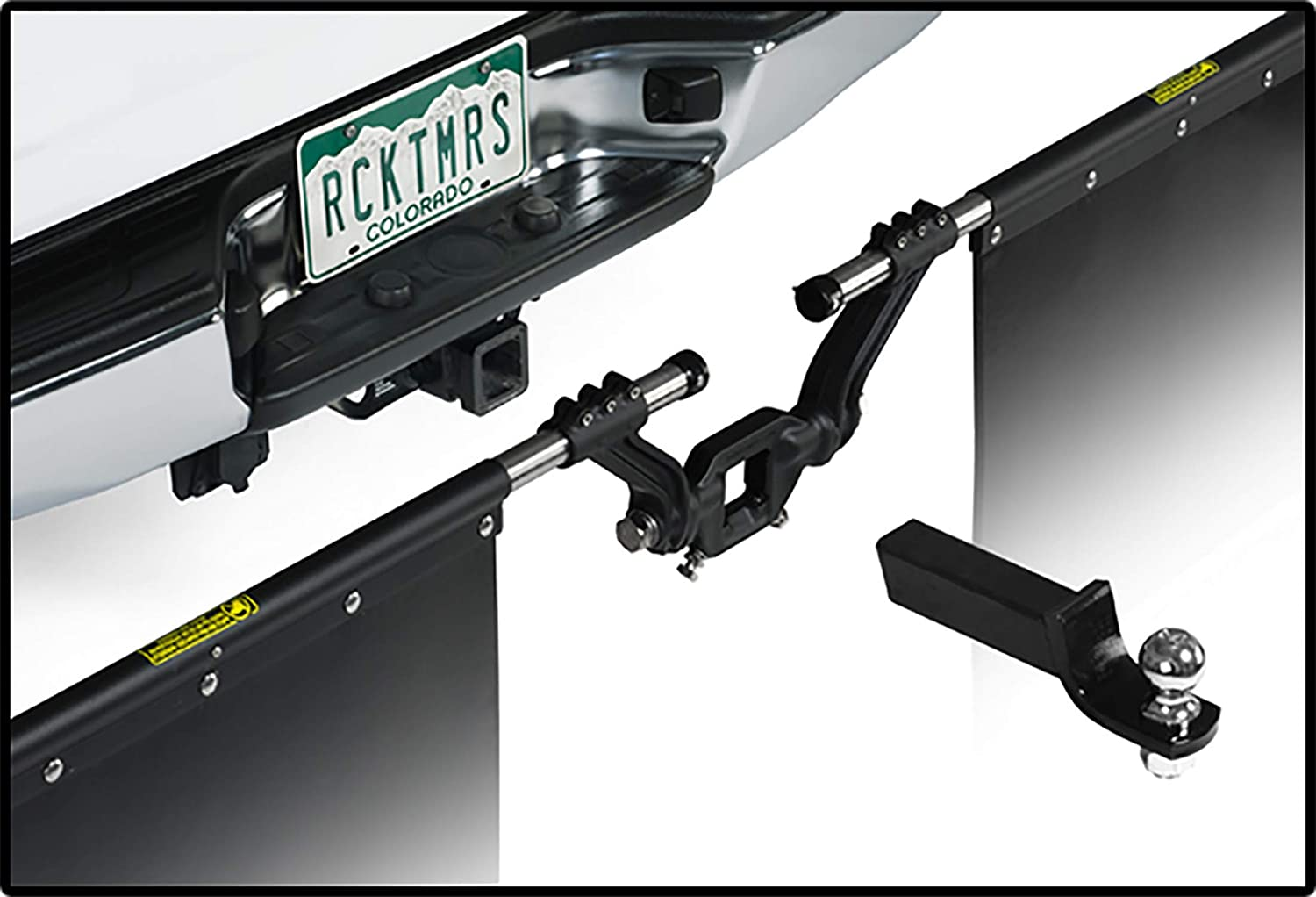 00112 Rock Tamers Mudflap System 3 Hub with Matte Black Stainless Steel Trim Plates 3 Ball Mount