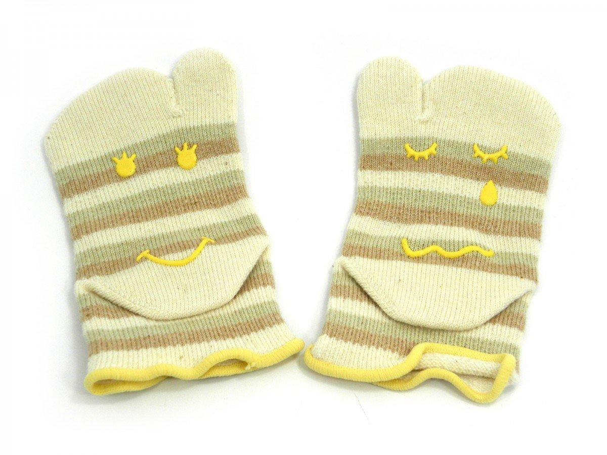 Knitido Baby Tabi | Chaussettes à orteils enfant antidérapantes en cotton bio, taille 22-25 GG Kinder:22-25 FB Streife:beige-grün (110) Knitido®