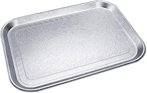 Uniyou Rectangular Serving Tray Thickened Non-slip Plastic Tray Upscale Exquisite Carved Pattern Retro Food Tray for Dinner Parties Restaurant Coffee Table, Silver 16.2'' x 11.2''