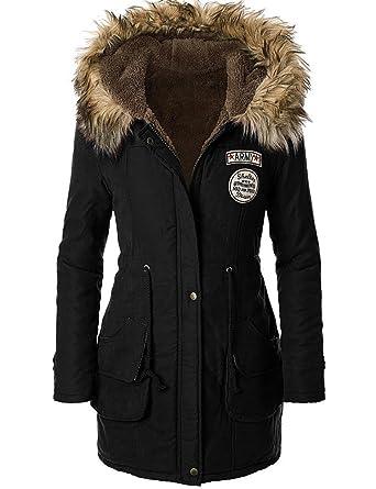Amazon.com: ASCHOEN Womens Hooded Warm Winter Faux Fur Lined ...