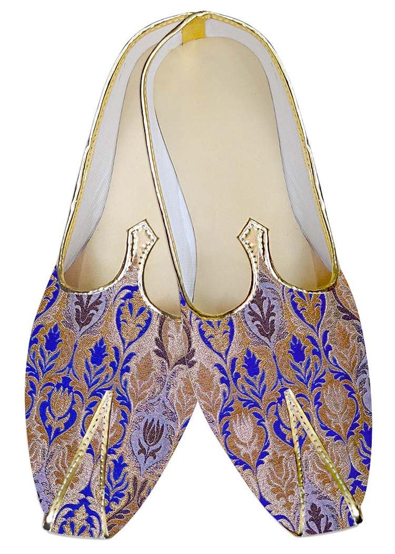 INMONARCH Hombres Dorado y Azul Zapatos de Boda MJ015042 37 EU