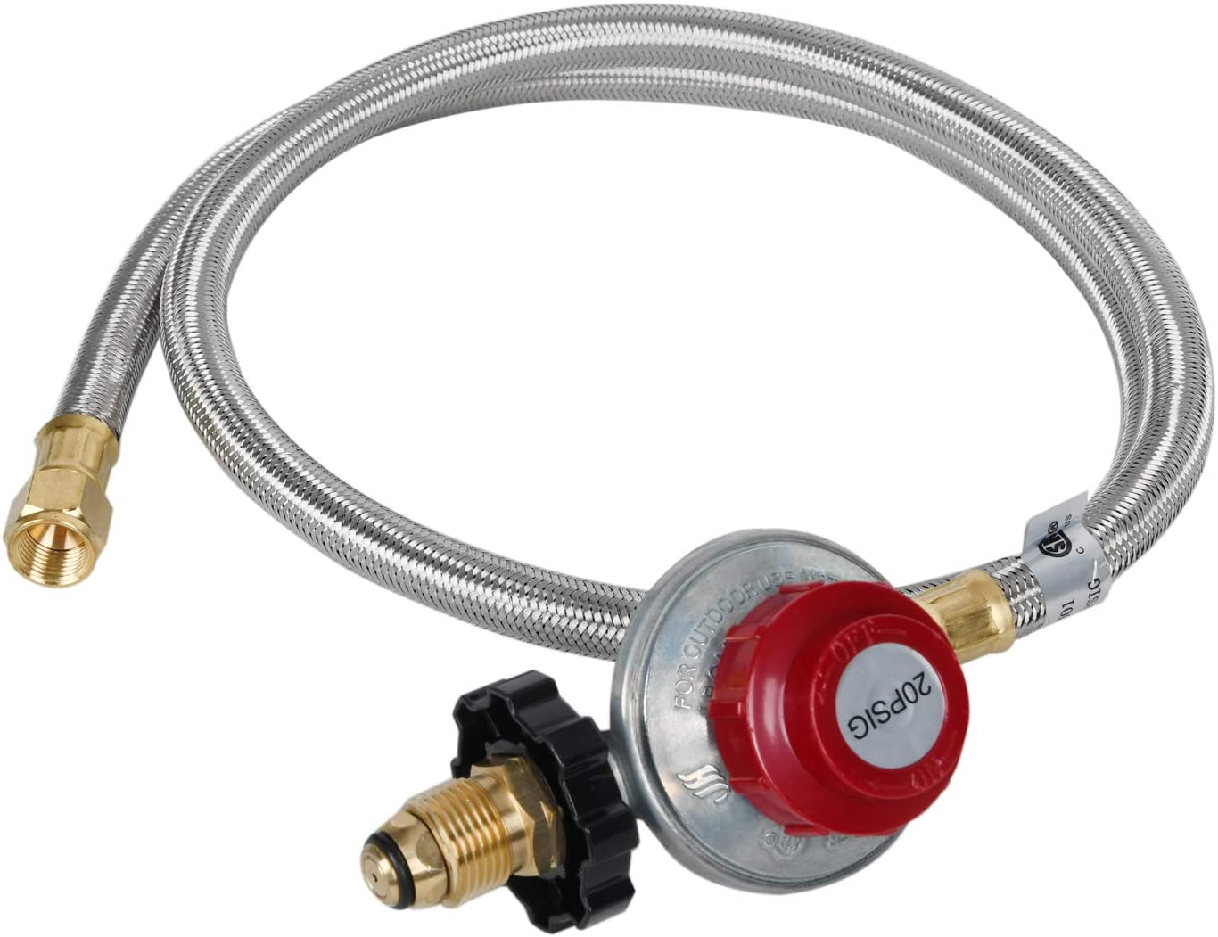 GasSaf 5FT 0-20 PSI High Pressure Adjustable Propane Regulator with Braided Stainless Steel LP/LPG Hose for POL Type BBQ Grill, Turkey Fryer, Propane Burner - 3/8'' Female Flare Fitting