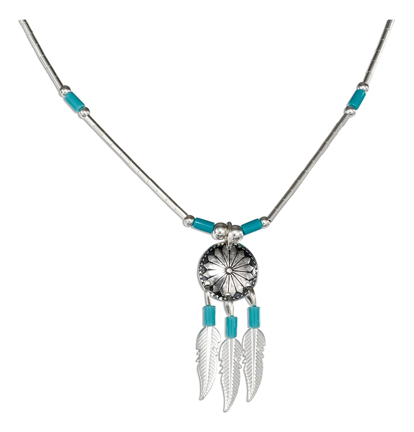 Amazon Sterling Silver 16 Inch Concho Necklace With