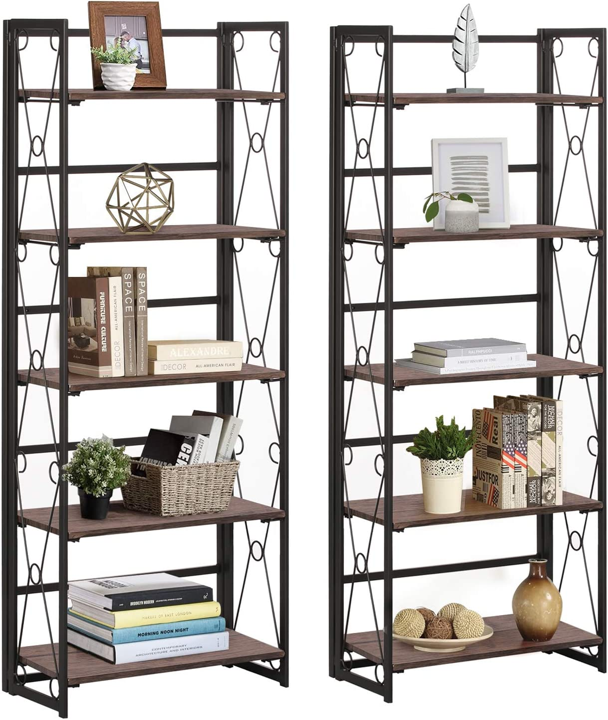 VECELO 5 Tier Bookshelf Set of 2 Industrial Folding Bookcase with Metal Frames,Modern Standing Storage Rack Shelf Organizer for Home and Office, 2 Set, Brown