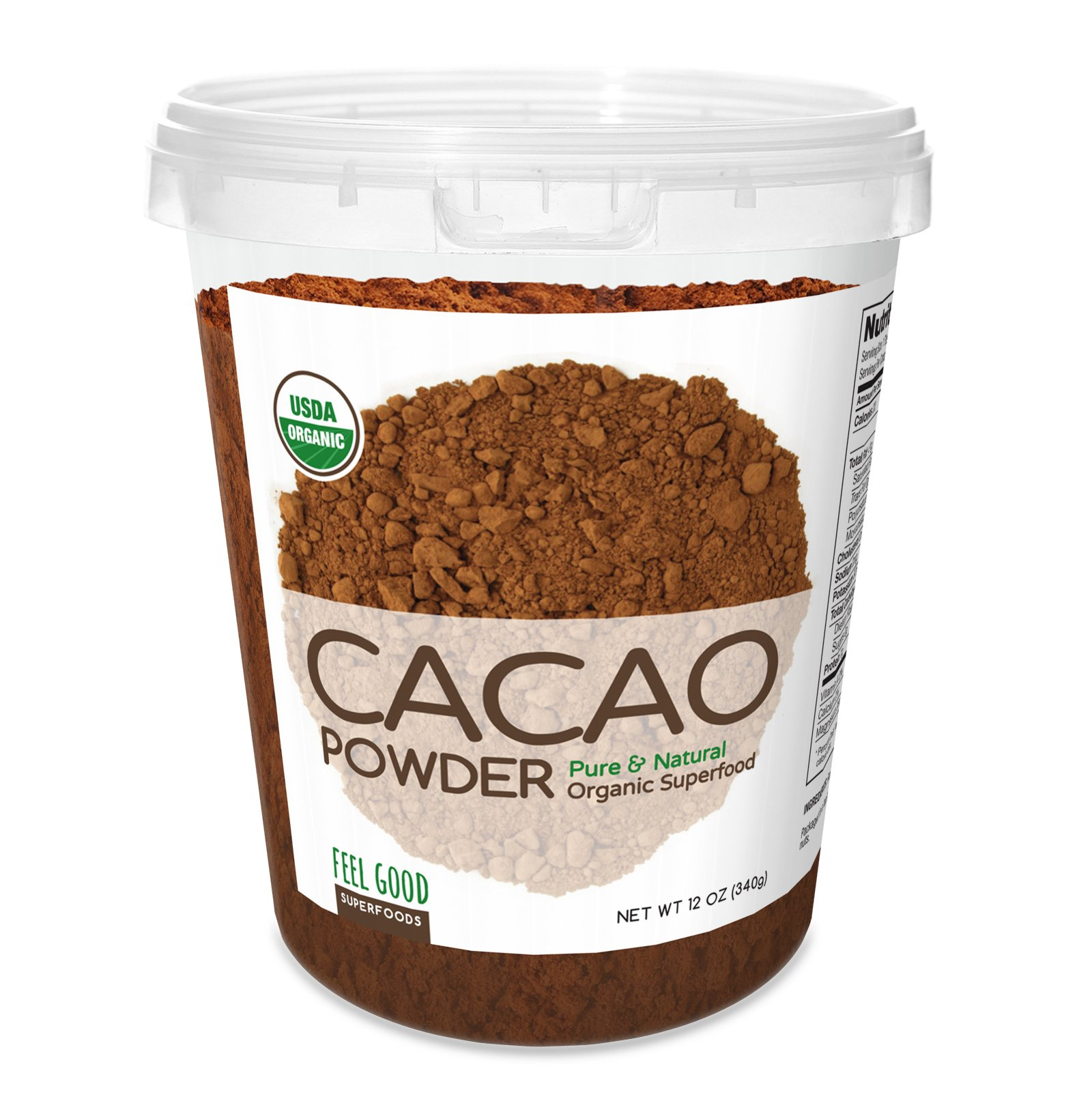 Feel Good Superfoods USDA Organic Cacao Powder 12 Ounce/Pure & Natural