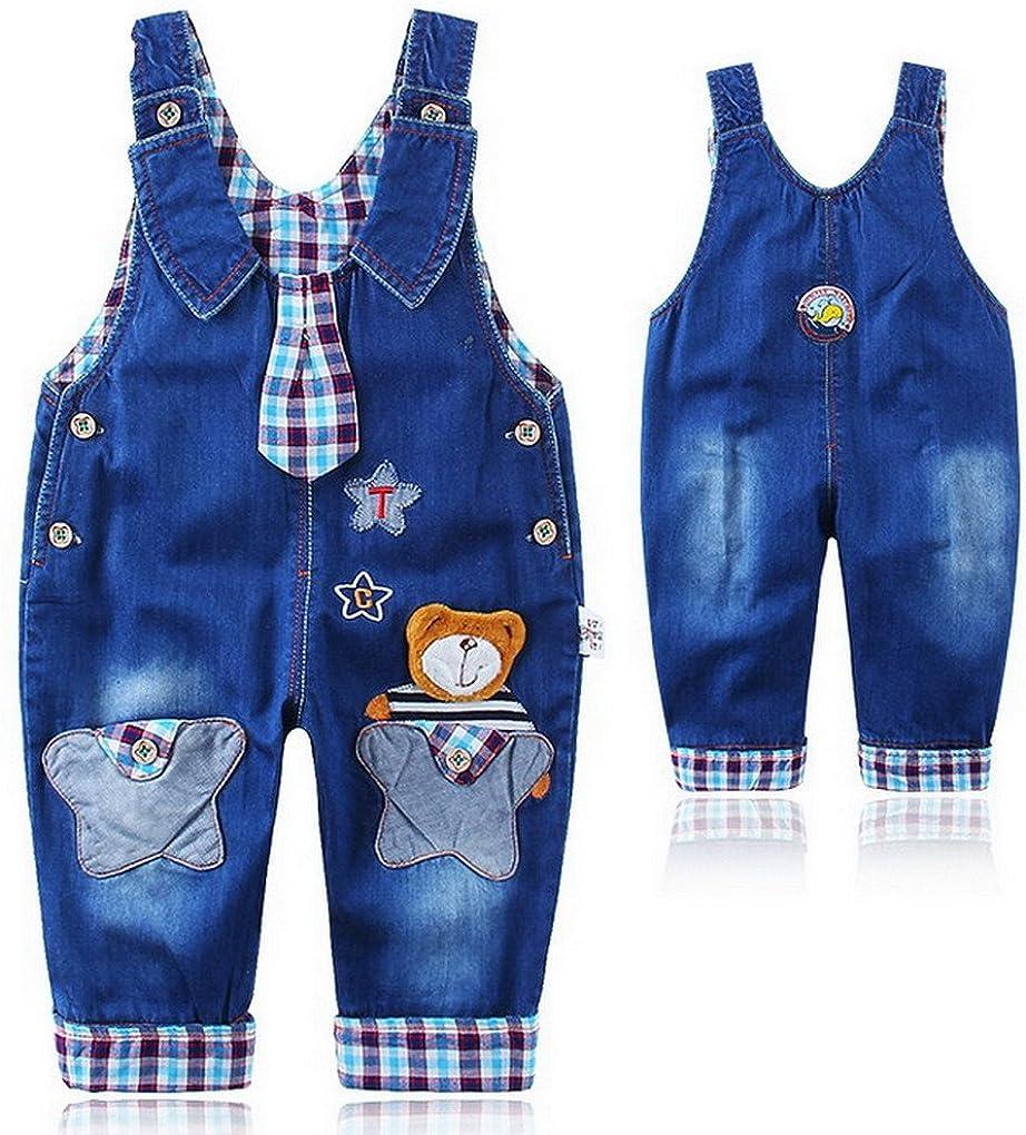 acme Kinder Latzhose Overall Jungen M/ädchen blau Hosen mit Tiere Pattern