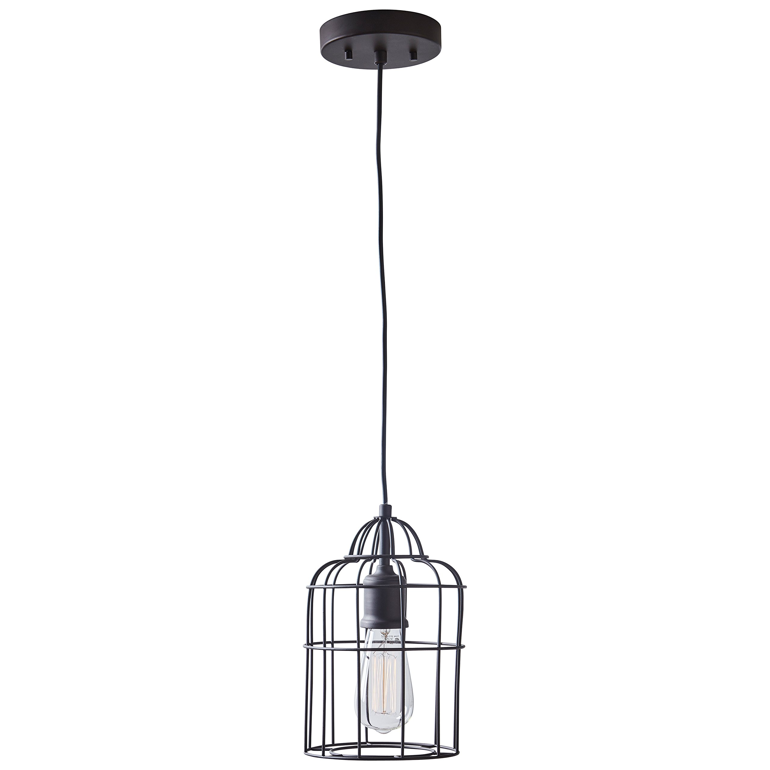 Stone & Beam Cage Pendant Light with Bulb, 12''-62''H, Oil-Rubbed Bronze