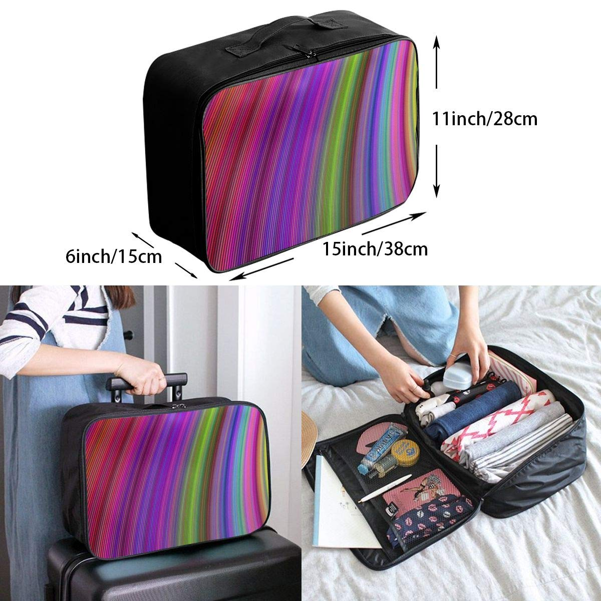 Multi-color Intersecting Line Art Travel Lightweight Waterproof Foldable Storage Carry Luggage Large Capacity Portable Luggage Bag Duffel Bag