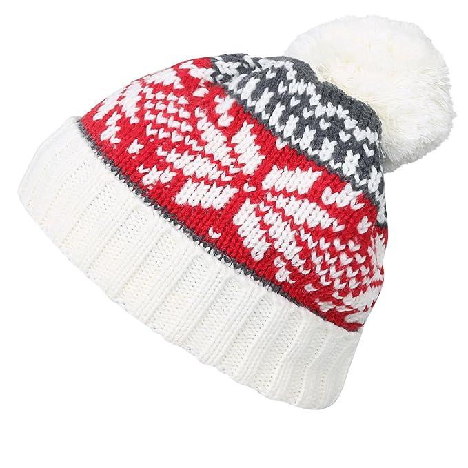ililily Nordic Pattern Slouchy Beanie Pompom Ribbed Knit Skully Winter Hat 28477c98321