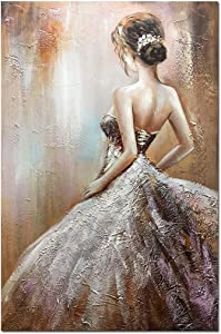 Boiee Art,24x36Inch Modern Hand Painted Wedding Dress Girl's Back Canvas Paintings Abstract Figure Artwork Vertical Oil Painting Home Decor Art Wood Inside Framed Ready to Hang for Living room Dining Room