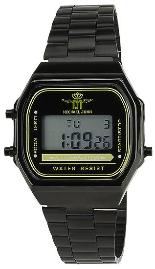 MICHAEL JOHN - Reloj Mujer Negro Cuarzo Acero Rectángulo Alarma Cronógrafo Luz Pantalla Digital Led Water