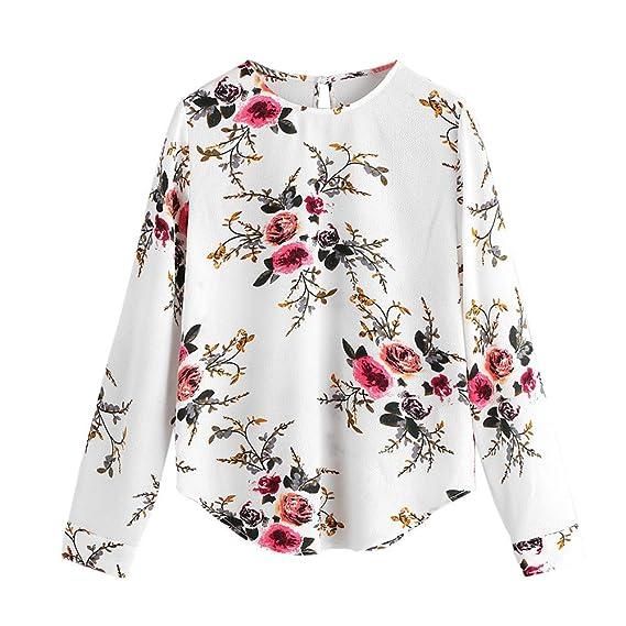 Camisa de Manga Larga para Mujer Moda Blouses Floral de impresión Casual Otoñal Tops con Bolsillo