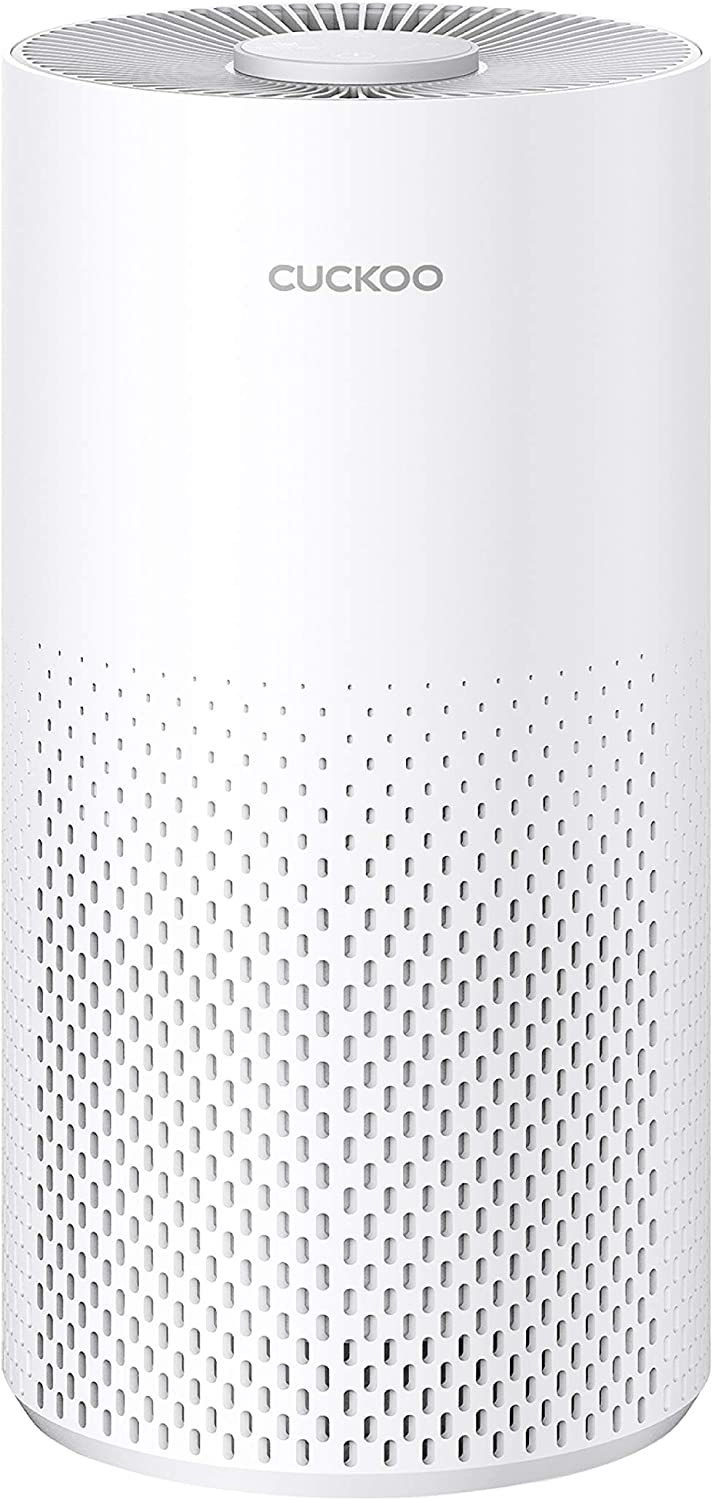 Cuckoo CAC-I0510FW Air Purifier 3-in-1 Filtration: Pre-Filter, True HEPA+ (H13), Carbon, 3 LED lite Air Quality Indicator, Eliminates Allergens, Smoke, Dust, Odor, and Dander