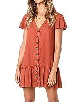 YONYWA Women Button Down Dresses Ruffle Short Sleeve V Neck Loose Fit Mini Dress