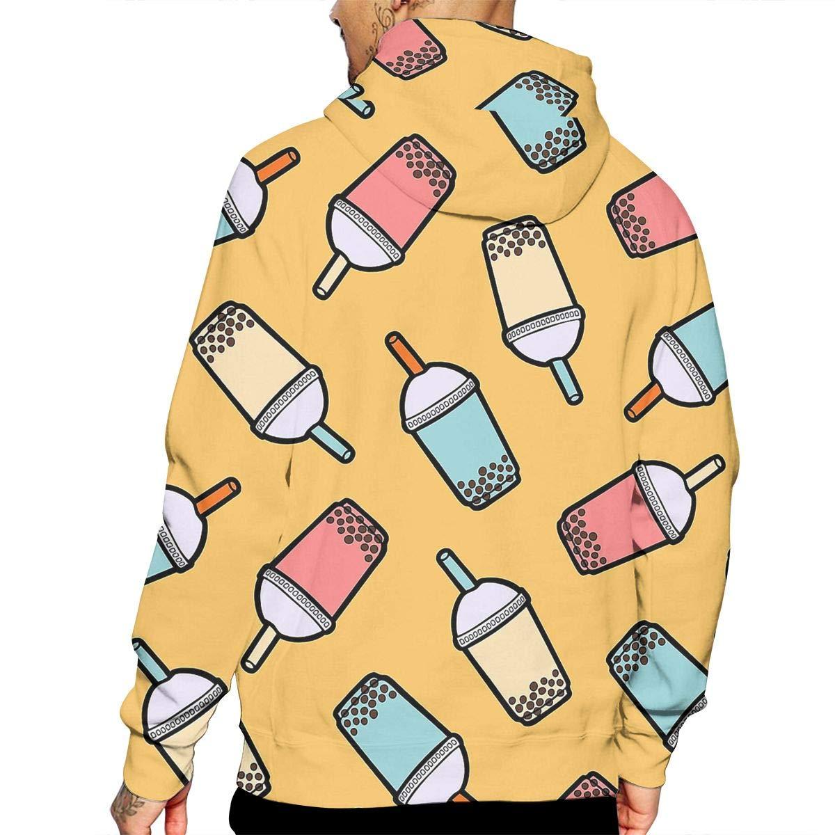 YUANSHAN Bubble Tea Cup Mans Long Sleeve Hoodie Casual Pocket Hooded Sweatshirt