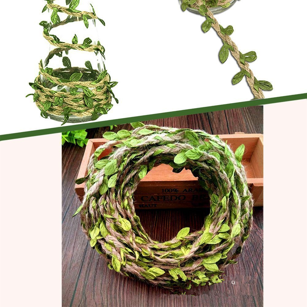 MF2FLAY 33 Feet Natural Jute Twine, Creative Burlap Leaf Ribbon 5MM with Artificial Green Leaves, Perfect Braided Decorated Vine for Art & Crafting Home Packing Decoration and any Party Décor (2 PCS)